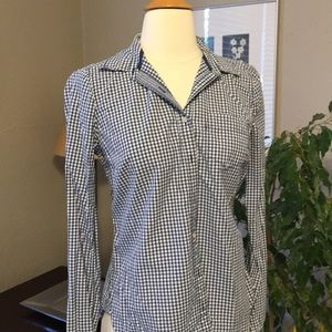 Navy White Gingham Button Top Blouse Preppy S 4 6